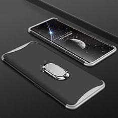 Oppo Find X用ハードケース プラスチック 質感もマット 前面と背面 360度 フルカバー アンド指輪 S01 Oppo シルバー