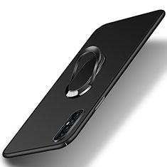 Oppo Find X2 Neo用ハードケース プラスチック 質感もマット アンド指輪 マグネット式 P01 Oppo ブラック