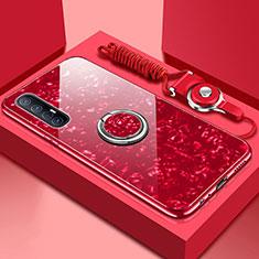 Oppo Find X2 Neo用ハイブリットバンパーケース プラスチック 鏡面 カバー アンド指輪 マグネット式 T01 Oppo レッド