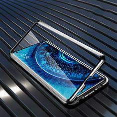Oppo Find X2 Pro用ケース 高級感 手触り良い アルミメタル 製の金属製 360度 フルカバーバンパー 鏡面 カバー A01 Oppo ブラック