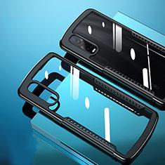 Oppo Find X2 Pro用ハイブリットバンパーケース クリア透明 プラスチック 鏡面 カバー H03 Oppo ブラック