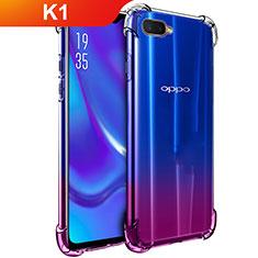Oppo K1用極薄ソフトケース シリコンケース 耐衝撃 全面保護 クリア透明 T02 Oppo クリア