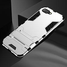 Oppo K1用ハイブリットバンパーケース スタンド プラスチック 兼シリコーン カバー A01 Oppo シルバー