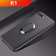 Oppo K1用極薄ソフトケース シリコンケース 耐衝撃 全面保護 アンド指輪 マグネット式 バンパー A01 Oppo ブラック