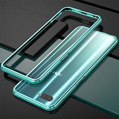 Oppo K1用ケース 高級感 手触り良い アルミメタル 製の金属製 バンパー Oppo シアン