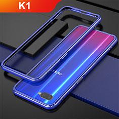 Oppo K1用ケース 高級感 手触り良い アルミメタル 製の金属製 バンパー Oppo ネイビー