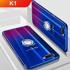 Oppo K1用極薄ソフトケース シリコンケース 耐衝撃 全面保護 クリア透明 アンド指輪 マグネット式 S01 Oppo ネイビー