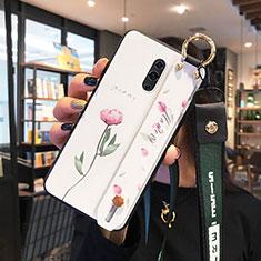 Oppo K3用ハイブリットバンパーケース プラスチック 鏡面 花 カバー Oppo ホワイト