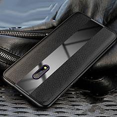Oppo K3用シリコンケース ソフトタッチラバー レザー柄 Oppo ブラック