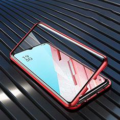 Oppo K7 5G用ケース 高級感 手触り良い アルミメタル 製の金属製 360度 フルカバーバンパー 鏡面 カバー M04 Oppo レッド