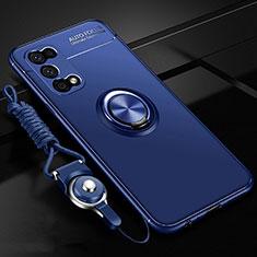 Oppo K7x 5G用極薄ソフトケース シリコンケース 耐衝撃 全面保護 アンド指輪 マグネット式 バンパー Oppo ネイビー