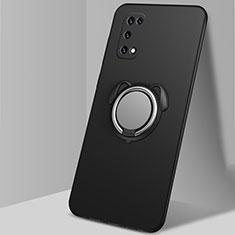 Oppo K7x 5G用極薄ソフトケース シリコンケース 耐衝撃 全面保護 アンド指輪 マグネット式 バンパー A03 Oppo ブラック