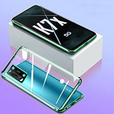 Oppo K7x 5G用ケース 高級感 手触り良い アルミメタル 製の金属製 360度 フルカバーバンパー 鏡面 カバー Oppo グリーン