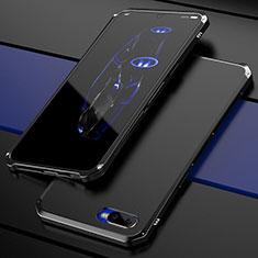 Oppo R15X用ケース 高級感 手触り良い メタル兼プラスチック バンパー M01 Oppo ブラック