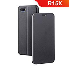 Oppo R15X用手帳型 レザーケース スタンド カバー Oppo ブラック
