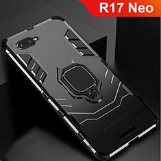 Oppo R17 Neo用ハイブリットバンパーケース スタンド プラスチック 兼シリコーン カバー Oppo ブラック