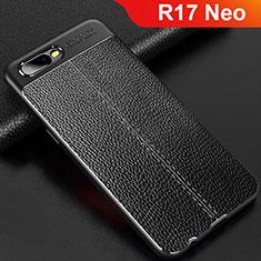 Oppo R17 Neo用シリコンケース ソフトタッチラバー レザー柄 Oppo ブラック