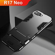 Oppo R17 Neo用ハイブリットバンパーケース スタンド プラスチック 兼シリコーン カバー A01 Oppo ブラック