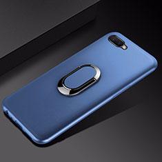 Oppo R17 Neo用極薄ソフトケース シリコンケース 耐衝撃 全面保護 アンド指輪 マグネット式 バンパー A01 Oppo ネイビー
