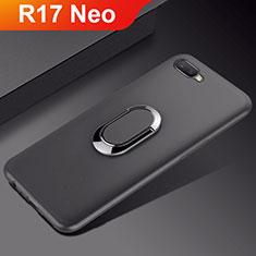 Oppo R17 Neo用極薄ソフトケース シリコンケース 耐衝撃 全面保護 アンド指輪 マグネット式 バンパー A01 Oppo ブラック