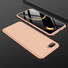 Oppo R17 Neo用ハードケース プラスチック 質感もマット 前面と背面 360度 フルカバー Oppo ゴールド