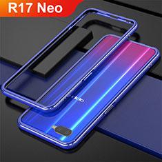 Oppo R17 Neo用ケース 高級感 手触り良い アルミメタル 製の金属製 バンパー Oppo ネイビー