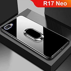 Oppo R17 Neo用ハイブリットバンパーケース プラスチック 鏡面 カバー M01 Oppo ブラック
