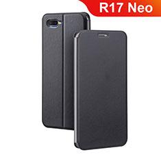 Oppo R17 Neo用手帳型 レザーケース スタンド カバー Oppo ブラック