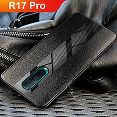 Oppo R17 Pro用シリコンケース ソフトタッチラバー レザー柄 Oppo ブラック