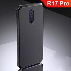 Oppo R17 Pro用ケース 高級感 手触り良い メタル兼シリコン バンパー M02 Oppo ブラック