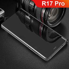 Oppo R17 Pro用手帳型 レザーケース スタンド カバー 鏡面 カバー Oppo ブラック