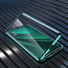 Oppo R17 Pro用ケース 高級感 手触り良い アルミメタル 製の金属製 360度 フルカバーバンパー 鏡面 カバー T03 Oppo グリーン