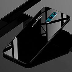 Oppo Realme X用ハイブリットバンパーケース プラスチック 鏡面 虹 グラデーション 勾配色 カバー Oppo ブラック