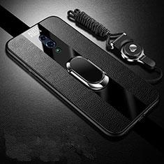 Oppo Realme X用シリコンケース ソフトタッチラバー レザー柄 アンド指輪 マグネット式 A01 Oppo ブラック