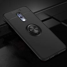Oppo Realme X用極薄ソフトケース シリコンケース 耐衝撃 全面保護 アンド指輪 マグネット式 バンパー Oppo ブラック