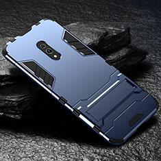 Oppo Realme X用ハイブリットバンパーケース スタンド プラスチック 兼シリコーン カバー Oppo ネイビー