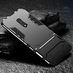 Oppo Realme X用ハイブリットバンパーケース スタンド プラスチック 兼シリコーン カバー Oppo ブラック