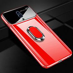 Oppo Realme X用ハードケース プラスチック 質感もマット アンド指輪 マグネット式 A01 Oppo レッド