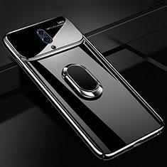Oppo Realme X用ハードケース プラスチック 質感もマット アンド指輪 マグネット式 A01 Oppo ブラック