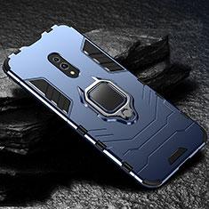 Oppo Realme X用ハイブリットバンパーケース スタンド プラスチック 兼シリコーン カバー マグネット式 Oppo ネイビー