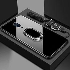 Oppo Realme X用ハイブリットバンパーケース プラスチック 鏡面 カバー アンド指輪 マグネット式 Oppo ブラック