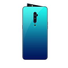 Oppo Reno 10X Zoom用ハイブリットバンパーケース プラスチック 鏡面 虹 グラデーション 勾配色 カバー Oppo ブルー