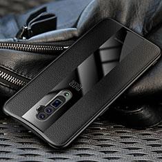 Oppo Reno 10X Zoom用シリコンケース ソフトタッチラバー レザー柄 Oppo ブラック