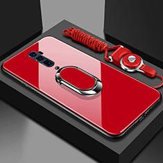 Oppo Reno 10X Zoom用ハイブリットバンパーケース プラスチック 鏡面 カバー アンド指輪 マグネット式 Oppo レッド
