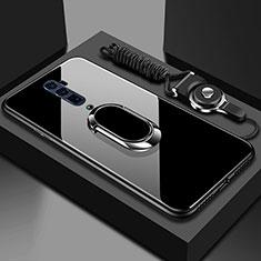 Oppo Reno 10X Zoom用ハイブリットバンパーケース プラスチック 鏡面 カバー アンド指輪 マグネット式 Oppo ブラック