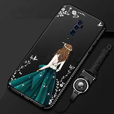Oppo Reno 10X Zoom用シリコンケース ソフトタッチラバー バタフライ ドレスガール ドレス少女 カバー Oppo ブラック
