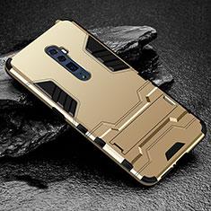 Oppo Reno 10X Zoom用ハイブリットバンパーケース スタンド プラスチック 兼シリコーン カバー Oppo ゴールド