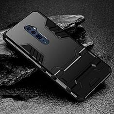 Oppo Reno 10X Zoom用ハイブリットバンパーケース スタンド プラスチック 兼シリコーン カバー Oppo ブラック