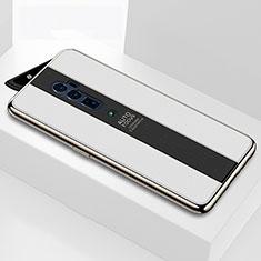 Oppo Reno 10X Zoom用ハイブリットバンパーケース プラスチック 鏡面 カバー Oppo ホワイト