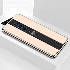 Oppo Reno 10X Zoom用ハイブリットバンパーケース プラスチック 鏡面 カバー Oppo ゴールド